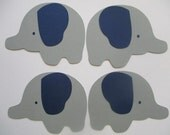 6 Elephant (3 size options) Theme Decorations, Diecut Cutouts, for Diaper Cake, Centerpiece, Birthday Party, Baby Shower, Navy and Gray Grey