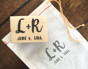 Custom Initials & Date Hand-Carved Rubber Stamp, Save the Date, Wedding Invitation