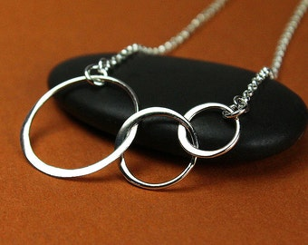 Three ring necklace, three circle necklace, 3 ring, 3 circle, silver three ring, silver interlocking circles ring linked circles sterling