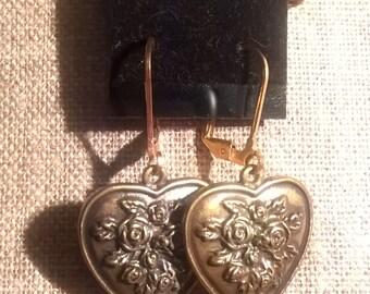 Victorian style heart earrings