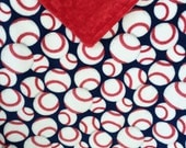 "29x35""Double Minky Baseballs in Red White and Blue with Red Minky Dimple Dot Super Soft and Cozy Ready to Ship Travel Blanket Too"