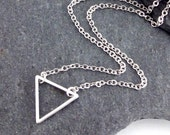 Dainty Silver Triangle Necklace, Fine Silver Chain, Simple Necklace, Geometric Contemporary Minimalist Jewellery