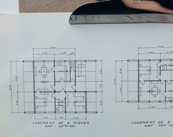 Vintage french school blueprint