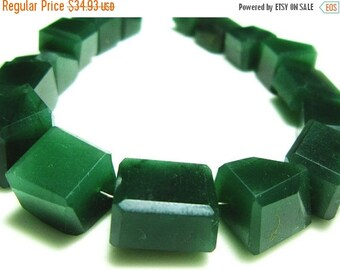 "MEGA SALE AA Green Jade Step Cut Nuggets- 7"" Strand -Stones measure- 7-14mm"