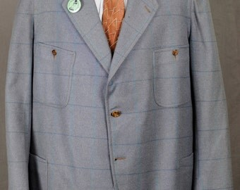 1920s Gray SB Wool Belted Back Sports Jacket w/ Blue Windowpane - XL - 4 Patch Pockets
