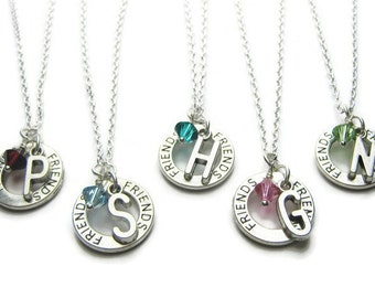 5 Friends Personalized Swarovski Birthstone Necklace, 5 Best Friends Necklaces, Initial Necklace, Birthstone Necklace, Friends Necklaces