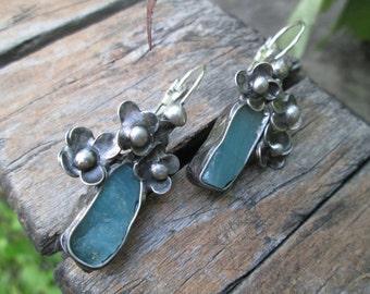 raw blue apatite. Earrings