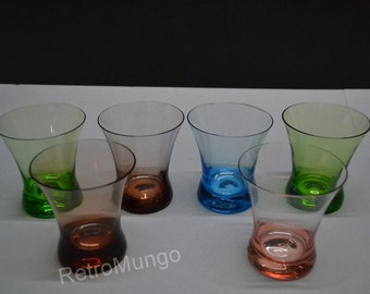 6 lovely colored  glasses   vintage 50's drinking glasses