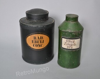 Set of two old original zinc apothecary / pharmacy  storage tins