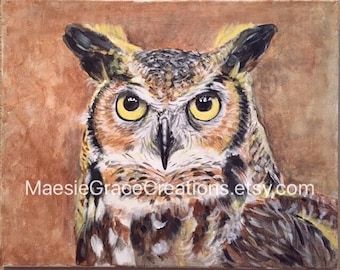 """Great Horned Owl 16"""" x 20"""" Original Acrylic Painting on Canvas"""