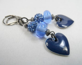 """Blue Swarovski Crystal Pave Balls with Blue Enameled Heart Charms Leverback Earrings - 2.5"""" length"""