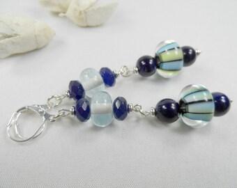 """Striped Blue Lampwork Leverback Earrings - Silvertone - 3"""" length"""