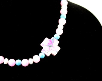 Pink, Blue and White Offset Cross Necklace