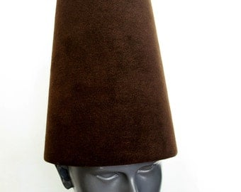 Traditional Whirling Dervish Hat ''Sikke'' 59~60 cm dark brown