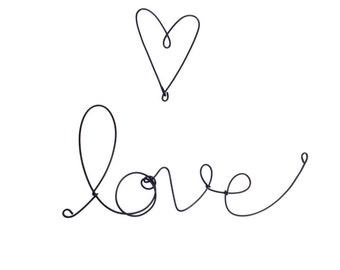 """Black """"love"""" and heart plastic covered cursive wire wall word"""