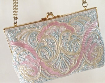 Vintage White And Pastel Beaded Evening Bag, Clutch, Bridal Purse, Vintage Beaded Evening Bag, Clutch