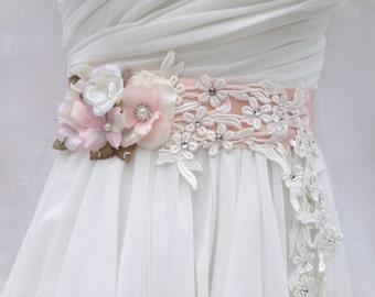 Bridal Sash-Wedding Sash In Blush Pink And Ivory With Lace, Swarovski Crystals & Pearls, Wedding Dress Sash, Bridal Belt, Flower Sash
