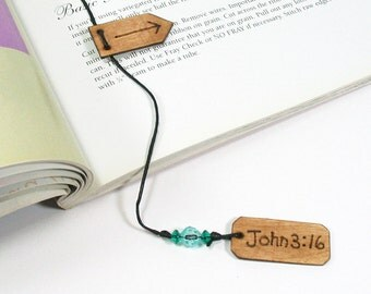 John 3:16 Faith Bookmark with Page Marker, Womens Bookmark, Wood Bookmark, Book Thong, Beaded Bookmark, Christian Gifts
