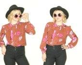 Paisley Blouse / California Patterns / Paisley print  / Boho blouse  / leaf Pattern Blouse / 70s blouse / floral top