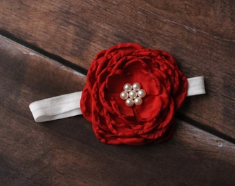 FREE SHIPPING! Red Newborn Headbands, Red Baby Headbands, Red Headbands, Baby Headbands, Baby Flower Headbands, Newborn Headbands