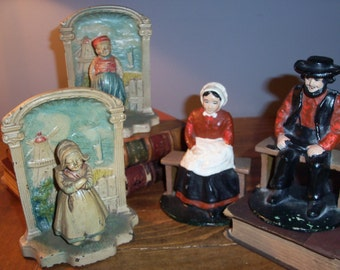 Antique Set of 4 Cast Iron Dutch Amish Bookends Holland Library Bookshelf