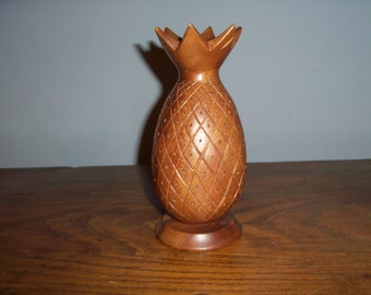 Mid Century Monkey Pod Hand Carved Pineapple Philippines