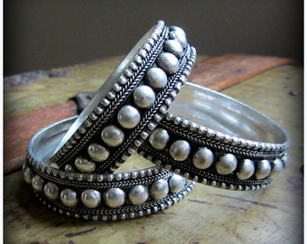 Tribal Belly Dance Silver Bangle Bracelets ~ Classic Ethnic Gypsy Antique Studded Nubby Style ~ ATS Bellydance ~ made for smaller wrists!