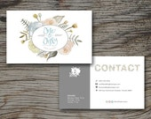 Boho Floral Chic Business Card Template (digital photoshop files) Photoshop File Digital File