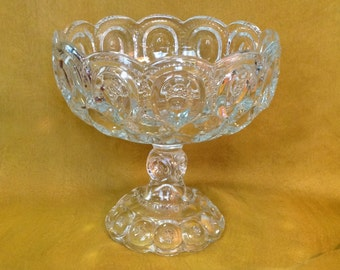 Large Moon and Stars Palace clear glass compote pedestal centerpiece fruit bowl collectible EAPG romantic cottage chic home decor