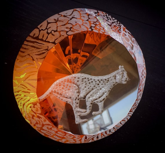 Large Amber  Diamond Paperweight hand engraved with Cheetah, running cheetah, African Art
