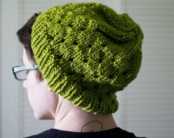 knit hat - green eyelet, kand knit