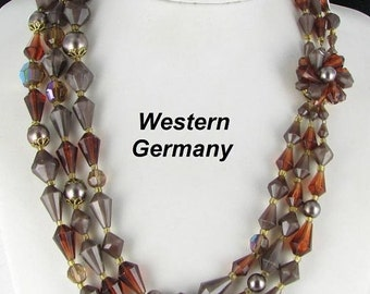 ON SALE West Germany 3 row Multi Strand Beaded Necklace with Box Clasp signed vintage