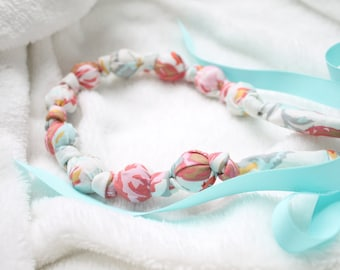 Fabric Statement Necklace,Teething Necklace, Chomping Necklace, Nursing Necklace - Winter Rose