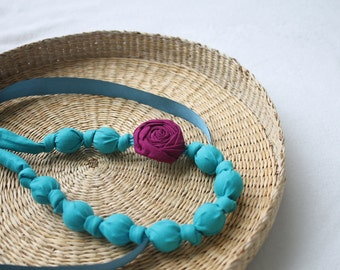 Fabric Necklace,Teething Necklace, Chomping Necklace, Nursing Necklace -Carribbean Blue with Purple Rose