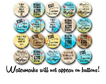 Christian Jesus Religious Pin Back Button Party Favors of Gift set of  1.25 inch Buttons pins Badges