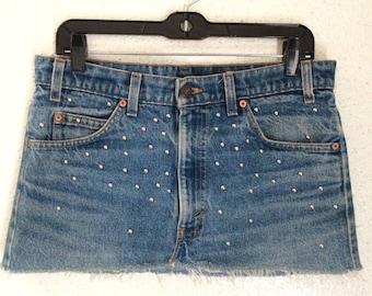 Vintage Levis 505 Studded Jean Skirt (S/M)
