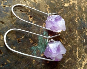 Serene | Amethyst earrings | LARGE CHUNKY Raw Amethyst stones | metalwork earrings| Purple Amethyst | Sterling Silver Earwires | hippie