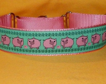 Pink Pigs dog collar