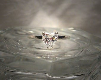Dainty Warm White Precision Faceted Cubic Zirconia 6mm Heart Cut .925 Sterling Silver Promise Ring Made to Order