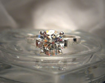 High Quality 8mm H or I Color Hearts And Arrows Cubic Zirconia Sterling Silver Cathedral Engagement Ring Made to Order