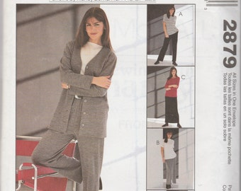 McCall's 2879 Easy Knit Wardrobe Jackets, Tops, Pull-On Pants and Skirt 2000 UnCut