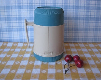 Turquoise Thermos - Glass Lined -  Insulated Vacuum  - Vintage 1960's