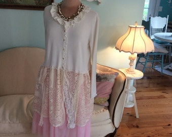 Romantic Cardigan  Sweater Coat Woodland Fairytale Cream and Lace Fantasy sale was 48 now 28.00!!