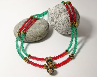 Multi strand Necklace Red Necklace Green Layered Necklace Beaded Necklace Beadwork Multicolor Necklace Gift Handmade Fashion Jewelry
