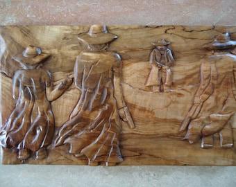 Wood Cowboy artwork - Hand Carved Wood - Cowboy sculpture - Wood wall art - Hand carved sculpture - Carved wood sign - Rustic, Spalted Maple