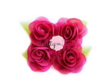 Raspberry Chiffon Rose with Leaf Flower...You Choose Quantity...Chiffon Rose Flower...Rolled Rosettes...Mini Rolled Rosettes...Shabby Rose