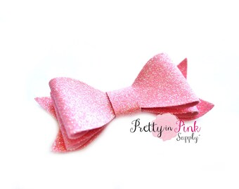 Baby Pink Layered Glitter Bows- You Choose Quantity- DIY Headband Supplies- Glitter Bows- DIY Hair Bows- Fabric Bow- Big Bows- DIY Craft
