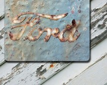 Mousepad Blue Rusted Ford Emblem Image on Durable Rubber Backing Mousepad