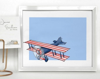 Airplane Kids Room Art - Red, White and Blue - 5x7 or 8x10