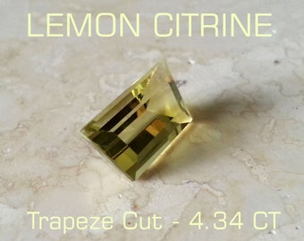 Gemstone Lemon Citrine 3.43 CT Trapeze Cut - Reduced - Free Shipping/Insurance